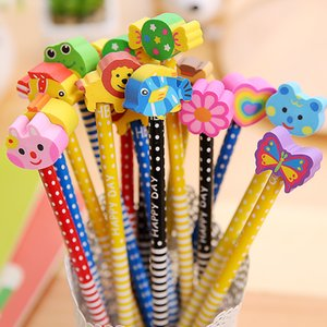 Pencils with Erasers Colorful Novelty Cartoon Animals' Stripe Eraser Wood Pencils for Students & Children Gift