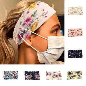 Hairbands elástico con el botón WiYoga diadema mujeres venda ancha banda para el cabello estiramiento del encanto floral diadema floral Hairbands Nueva