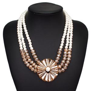 femmes dames de luxe femmes punk exagérée collier de perles multi-couches chaîne de chandail 2 couleurs