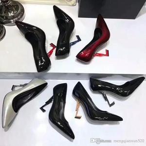 Bombas de tacones para mujer Vestido de cuero de patente Zapatos de boda Sexy Zapatos de tacón alto de tacón de tobillo Bombas de tacón de moda de metal zapatos de mujer 34-40-41