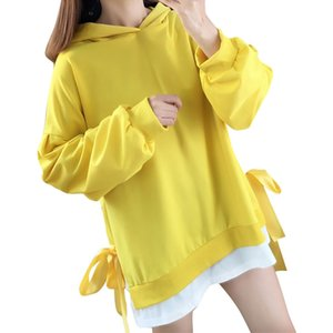 2019 Women clothes Asymmetric Sweatshirt Pullovers roupas Femininas Women Casual Loose Solid Patchwork V-Neck Hoodie Sweatshirt
