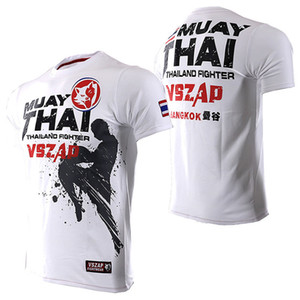 Men Tshirt Vszap Summer New Muay Thai Broadcasting Sanda Fighting T-shirt Elastic Cotton Ufc Fighting T Shirt Mma Homme 4 Color Y190509