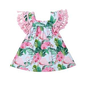 0-18M 귀여운 플라밍고 아기 소녀 드레스 보헤미안 비치웨어 파티 술의 소녀 드레스 민소매 인쇄 - 라인 미니 드레스에 여자