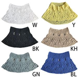 Womens Verão Handmade Lace Crochet Bikini Bottoms saia cor sólida oco Out malha Swimsuit Cover Up Padrão étnico Mini A-