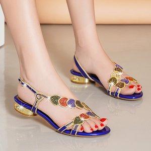 Новый женский синий цвет сандалии лето Кристалл Rhinestone низком каблуке Bohemian Дамы плоские туфли Пляж / Покупки обувь H20605-15