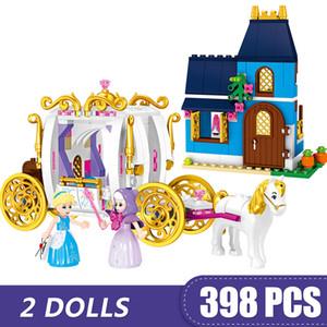 kız erkek çocuklar için Legoing Prenses Cinderella Büyülü Akşam Taşıma Hediyesi ile uyumlu 398PCS Küçük Yapı Taşları Oyuncak DIY