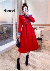 Kadınlar Coat Nakış 2019 Yeni Geliş Kış Kırmızı Dış Giyim Sonbahar Elbise Orta Boy Vintage Yün Coat