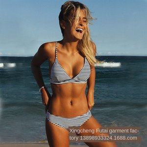 Futai garment factory 2019 swimsuit women's split stripes sexy bikini swimming suit bikini