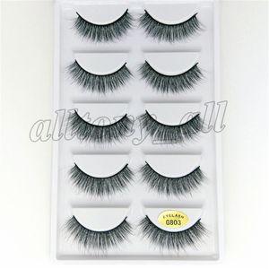 Reusable False Eyelashes 100% Real Siberian 3D Mink Hair Strip False Eyelash Makeup Long Individual Eyelashes Mink Lashes Extension