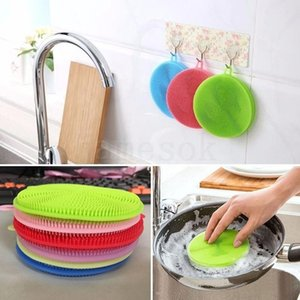 Multi-function color silicone dishwashing brush Kitchen household double-sided cleaning brush dish cloth Decontamination non-sti DHA176
