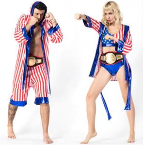 Disfraz de boxeador de bandera estadounidense para hombre Rocky Balboa Boxing Robe Disfraz Disfraz de Halloween Cosplay uniforme