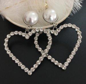 Luxusmode-Frauen-Ohrringe mit Kristallperlen Big Heart Glänzende CZ Diamant-Stein-Tropfen-Ohrringe Schmuck Hochzeit Geschenk Top-Qualität