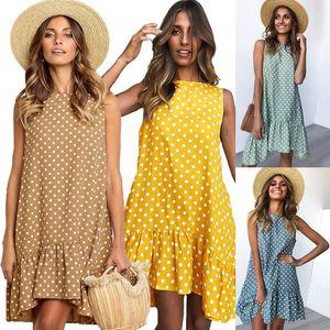 Saia de verão Dot Impressão Vestidos Mulheres Onda Ponto Falbala Colete Vestido de Festa À Beira Mar Praia de Viagem Vestidos Estilo Clássico Roupas C42303