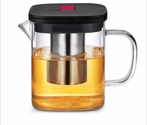 600 ml haute théière en verre borosilicate 304 filtre en acier inoxydable théière résistance à la chaleur et au froid 10.5x11cm