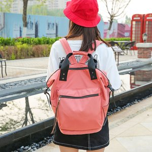 2020 Women Casual Backpacks Newest Nylon Backpack Ladies High Capacity Back to School Bag Teenage Travel Students Soft Handle PU