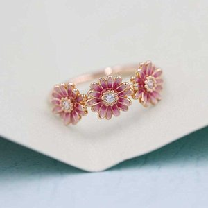 Quality High 100% Sterling Jewelry Daisy Rose Pink Silver Style Trio European Flower Pandora Charm 925 Ring Mrkjl