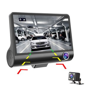 "3 Lente 4"" Carro DVR 3 Câmeras Fornt + Interior + Espelhos Retrovisores traço Camera G-sensor Dual Lens Auto Registrator Video Recorder MD3"