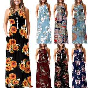 robe imprimée de fleurs d'été Femmes Gilet sans manches Robe longue style vintage longue Maxi Soirée Cocktail Robe plage Robe LJJK2026