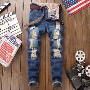 Jeans europei e americani high street buco mendicante jeans da uomo slim tubino dritto usura pantaloni uomo jean di inchiostro rotto