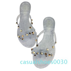 2019 fashion women sandals flat jelly shoes bow V flip flops stud beach shoes summer rivets slippers sandals nude c30
