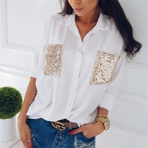 camisa hirigin Mulheres Moda Casual peito manga comprida Chiffon bolso lantejoulas Blusas de manga longa feminina solto Tops Blusa