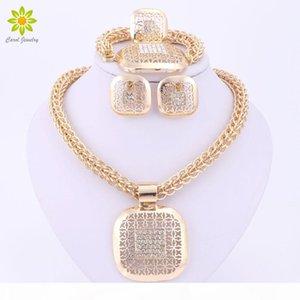 Belas Beads africanos Jóias Define Collar nigeriana de casamento acessórios do traje Brinco Colar Jogo de Dubai banhado a ouro