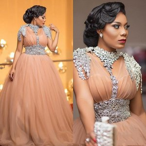 Aso Ebi Major Beading Evening Dresses Beaded Collar Short Sleeves Sequins Sash Plus Size Prom Dress Dubai Arabic vestidos de noite