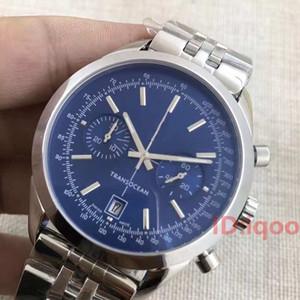 correa de cuero de lujo de cuarzo Transocean Trabajo Cronógrafo Acero Inoxidable Reloj de los hombres del reloj de pulsera para hombre Montre De Luxe Relojes