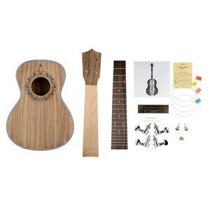 NAOMI 23 Polegadas Ukulele Luthier DIY KIT Corpo Concert + Pescoço + Pegs + Cordas + Fretboard ETC KIT Branco Preto Ligação Purfling