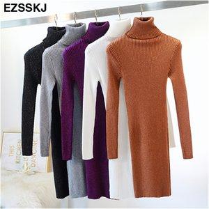 Ezsskj Alta elasticidad otoño invierno suéter vestido de mujer cálido femenino cuello alto de punto bodycon elegante Glitter club vestido OL Y190424