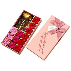 Valentine'S Day Gift 24K Gold Plated Rose Flower+12Pcs Soap Flower Romantic For Lover Girl Friend Christmas Gifts Pink