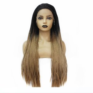 H Glueless Synthetic Lace Front Wig Wigs Dark Roots Ombre Brown Box Braids With Baby Hair Long Women &#039 ;S Braided Wig For Women Fr