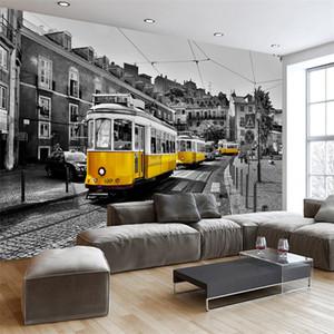 Özel Herhangi Boyut 3D Duvar Retro Avrupa Sokak Sarı Tramvayı Siyah Ve Beyaz Şehir Kurma Wallpaper Cafe Restaurant 3D Dekor