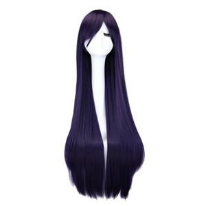 Uzun Düz Cosplay Peruk Siyah Mor Siyah Kırmızı Pembe Mavi Koyu Kahverengi 100 Cm Sentetik Saç Peruk