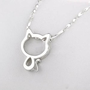 "Colar bonito do gato Mulheres minúsculo Cat Pendant Colar Gargantilha Com 17.7"" Cadeia Moda Lovely Kitty requintada jóia banhado a prata Colares"