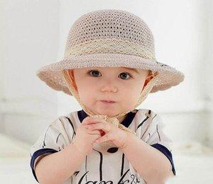 Primavera Estate capretti del bambino Cappello di paglia bambini Bambino Fishman Cap Crochet Lace Up Cotton Bucket Hat