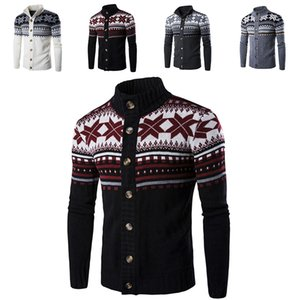 Autumn winter Mens sweater Christmas Snowflake Cardigan Coat Casual Sweaters Cardigan Knitwear Jacket Xmas Home Clothing WX9-1147