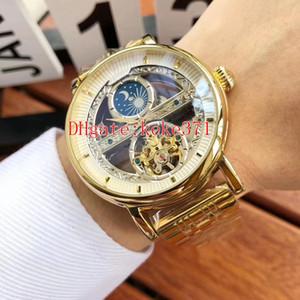 6 estilo Excelente boa qualidade Relógios De Pulso 44mm Aço Inoxidável Tourbillon Ásia 2813 Movimento Transparente Automático Mens Watch Relógios