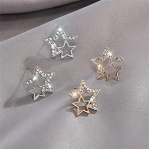 925 Silver Pin Diamond Hollow Five-pointed Star Earrings Temperament Round Shiny Earrings Ear Studs Hot Trend Style