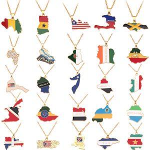 NEW Land auf Karte Flaggen-Halskette Afrika Guinea Liberia Undersea Jamaika Südafrika Kongo Honduras Anhänger Kette Mann Schmuck