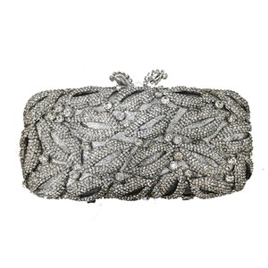 Luxury Silver Wedding Bridal Crystal Clutch Fashion Metal Handbags Women Bags Designer 2020 Diamond Rhinestone Dinner Purse