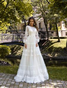 2020 Vintage Bridal Dresses Jewel Neck Appliqued Long Sleeves Wedding Dress Bow Sash Ruffle Sweep Train Custom Made Robes De Mariée