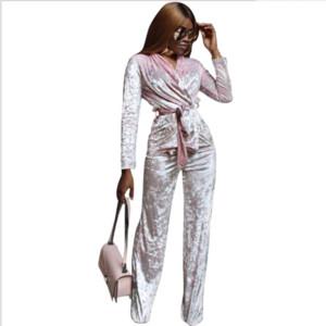 3296 femmes européennes et américaines vendent en gros des pantalons en velours de diamants en or en costume deux pièces à domicile discothèque