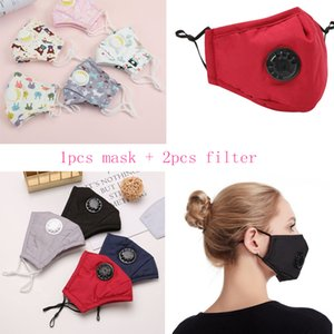 adults Kids Cartoon Breathing Cotton Valve Anti Pollen Dust Smog PM2.5 Mask high quality with 2PCS filter Filter Mask Designer masks