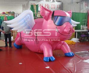 عملاق الخنزير الوردي نفخ للدعاية في الهواء الطلق / جميل خنزير نفخ الوردي تحلق بأجنحة الكرتون
