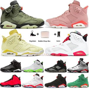 Con Box Portachiavi 6 6s Scarpe floreale Aleali maggio Hare Travis Scotts infrarossi Mens Basketball Oregon laser fucsia Black Cat Sneakers Sport