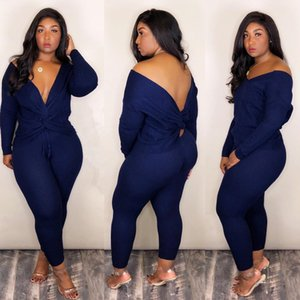 01Summer Tracksuits Sexy Long Sleeve Deep V Neck Two Piece Outfits Women Blue Tracksuits Size S-2XL