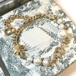 C1659 Mode vierblättrige Kleeblatt Ketten klassische D Brief kleine Biene Perlenarmband Stern Handketten Frauen exquisiter Schmuck