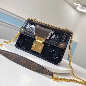 Bolso del caramelo bolsas de mensajero de cadena WYNWOOD mujeres de los bolsos de hombro del bolso de charol de alta calidad carpeta de la señora crossbody bagss con caja B048