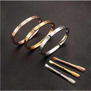 Luxe machines tournevis titane acier bracelet d'amour simple Motif Métal Boucle vis Boucle Hommes Femmes Marque Bijoux Qualité